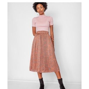 Anthropologie Numph pleated leopard skirt